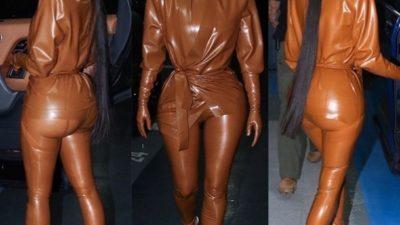 Ким и Кортни Кардашьян в облегающих нарядах из латекса восхитили парижан