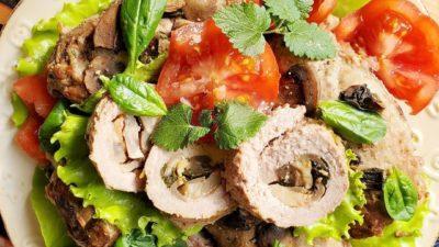 Рулеты с грибами в духовке без соли