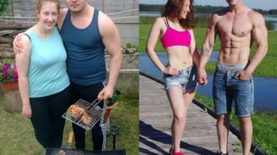 Молодая пара До и После того, как решили привести себя в форму