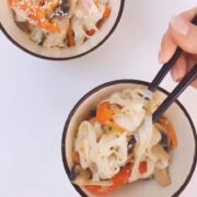Рисовая лапша с грибами и овощами