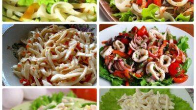 Подборка салатов с кальмарами