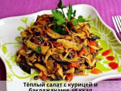 Тёплый салат с курицей и баклажанами на ужин